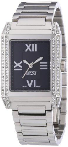 Esprit Collection - Reloj analógico para mujer de acero inoxidable negro