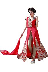BanoRani Womens Red Color Faux Georgette Embroidery Full Length Anarkali Gown Style Semi Stitched Salwar Suit (Pant Style)