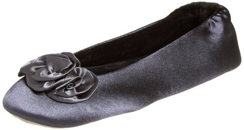 Cheap Isotoner Women's Rosette Satin Ballerina Slipper (B004W66L6U)