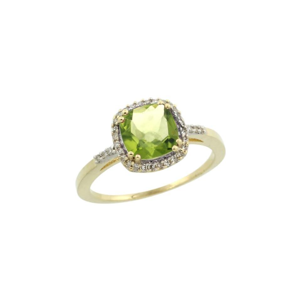 10K Yellow Gold Diamond Natural Peridot Ring Cushion cut 7x7mm, size 5