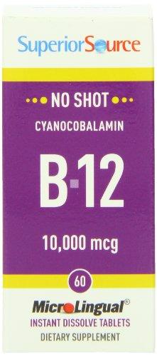 Superior Source No Shot Vitamin B12 Tablet, 10,000 Mcg, 60 Count