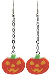 "1/2 X 3/4"" Pumpkin Jack-O-Lantern Halloween Earrings!, in Orange with Silver Tone Finish"