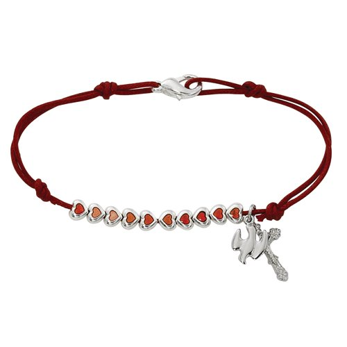 Catholic Girls Confirmation Jewelry Gift Red Enamel Heart Bead with Holy Dove and Crucifix Charm Cord Bracelet