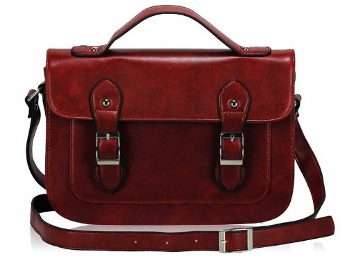 Ladies Vintage Designer Leather Style Satchel Handbag Shoulder Bag Red
