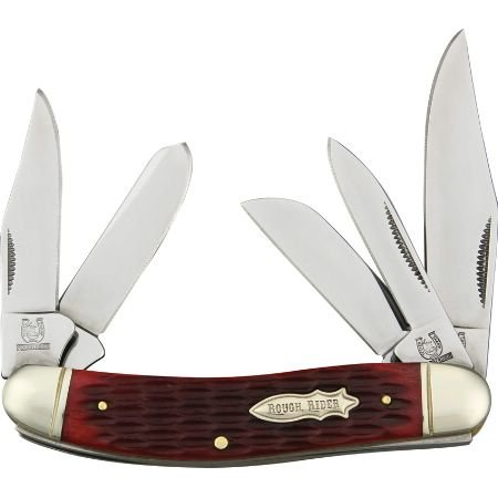 Rough Rider Knives 1181 Five Blade Sowbelly Pocket Knife With Red Jigged Bone Handles