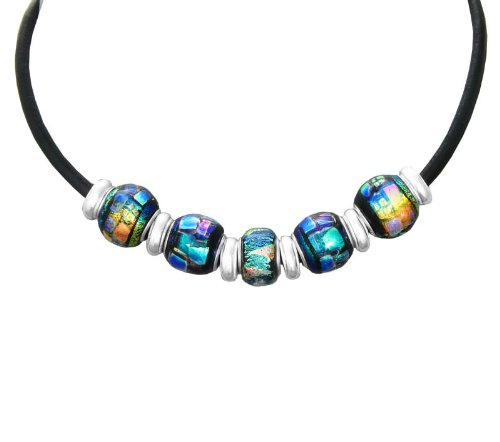 Leather Rainbow Dichroic Glass 5 Interchangeable Bead Necklace, 18