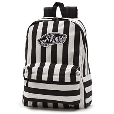 Amazon.com: Vans G Realm Black and White Stripe Backpack