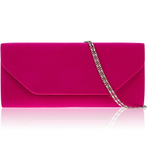 Zarla New Women Faux Suede Clutch Bag Bridal Designer Ladies Evening Shoulder Handbags