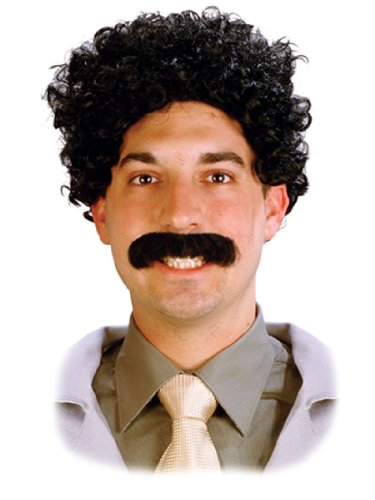 Wild Silly Traveler Foreign Guy Crazy Wig and Mustache Theatrical Mens Costume