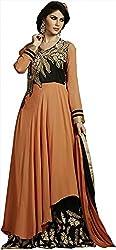 Shine Kreations Women's Georgette & Net Unstitched Salwar Suit (S-16, Orange & Black)