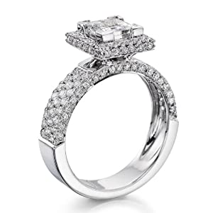 Diamond Engagement Ring 2 ct, K Color, SI1 Clarity, Certified, Princess Cut, in 14K Gold / White