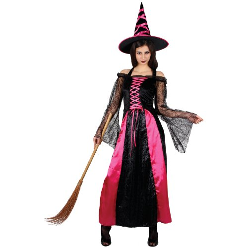 Pretty Pink Witch Ladies Fancy Dress Halloween Costume