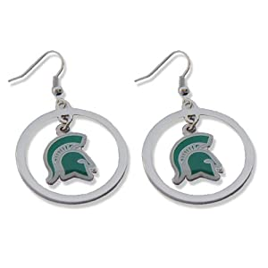 NCAA Michigan State Spartans Sports Team Logo Hoop Dangle Earring Charm Gift Set