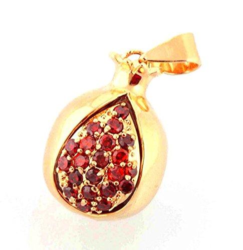 Très Joli Pendentif Plaqué or Pomegranate (Grenade) Pendentif Cristaux (Grenats) de Terre Sainte