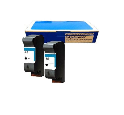 Inkjetcorner 2 Pack Black Remanufactured Ink Cartridges For Hp 45 Deskjet Printers 710C 712C 720C 722C 820Cxi 830C 832C 850Cxi 855Cxi 870C 870Cxi 880C 882C 890Cxi 895Cxi 930C 932C 935C 950C 952C 960Cxi 970Cxi 990Cxi 1000Cxi 1120Cxi 1220Cxicolor Copier 110