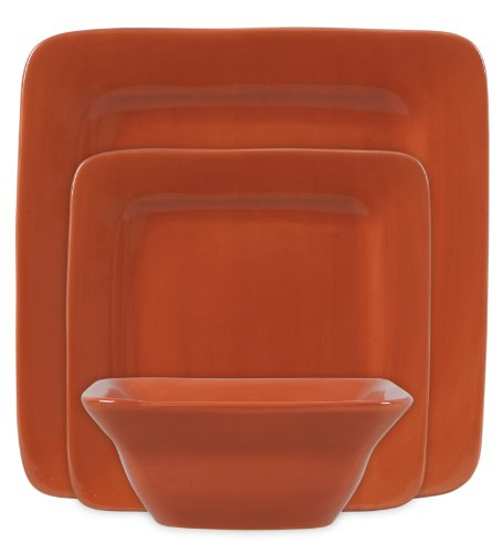 Gibson Frontino 12-Piece Handpainted Square Dinnerware Set, Rusty