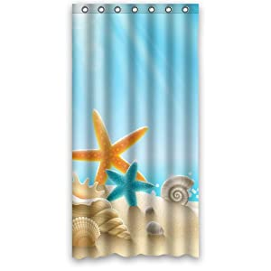 custom waterproof bathroom shower curtain 36 x 72 ocean theme sea life starfish. Black Bedroom Furniture Sets. Home Design Ideas