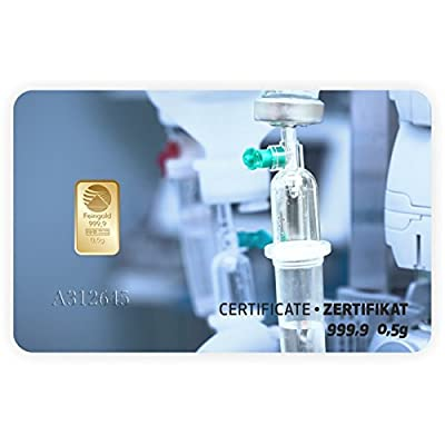 Goldbarren Geschenkkarte 0,5 g 0,5g Gramm Feingold 999.9 Nadir Gold Technik