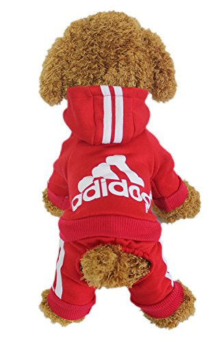 LifeWheel Pet Cat Dog Sweater Hoodies Jacket Pullover Coat Clothes For Winter(Red,M)