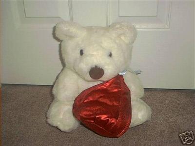 Hershey Kisses White Plush Bear w/Red plush Kiss