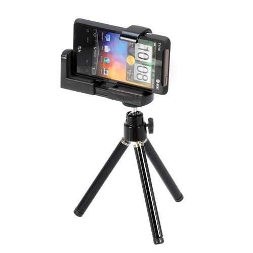 GTMax Mini Adjustable Tripod + camera Holder for Iphone and Other Cellphone