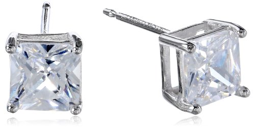 Platinum-Plated Sterling Silver Princess-Cut Cubic Zirconia (2.34 Cttw) Stud Earrings