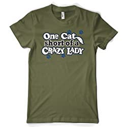 (Cybertela) One Cat Short Of A Crazy Lady Womens T-shirt Pet Lover Tee