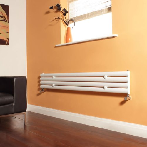 Milano Aruba - White Designer Radiator - Curved Panels - Luxury Central Heating Horizontal 'Oval' Columns - 236mm x 1600mm