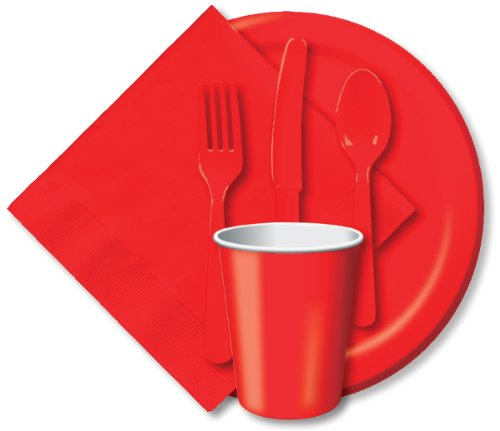 "Creative Expressions Paper 7"" Luncheon Plate 24-Pack: Classic Red"