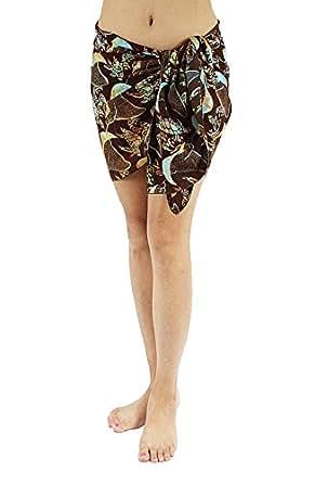 Lotus Resort Wear Hand Stamp Batik Sarong/ Scarf - Sea Life Brown