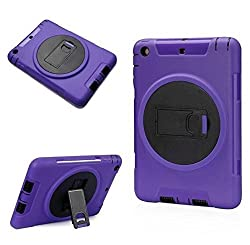 Yyue Ultra Shock&drop-proof Amy-grade Protective Hard Defender Case and Three Layer Hard Shell Cover Holster with 360 Degree Rotating Ring Bracket Protective Case for Ipad Mini TPU Rubber Case with Stand & Clip for Ipad Mini (Purple+Black)