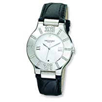Unisex Charles Hubert Leather Band Silver White Dial Watch