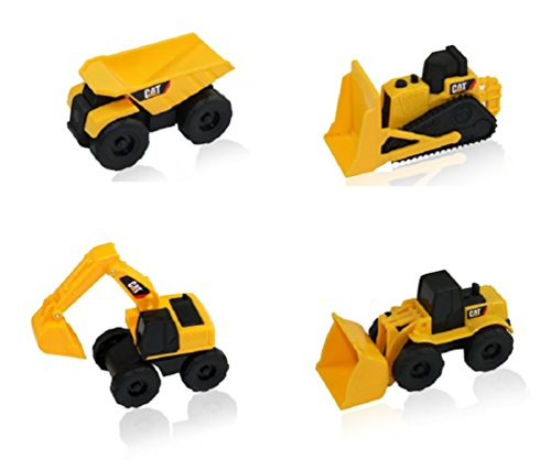 CAT Mini Machine Caterpillar Construction Toy Truck Mini Machine Set of 4, Dump Truck, Bulldozer, Wheel Loader and Excavator Free-Wheeling Vehicle Sand Box Toy Children Cake Toppers Party Favors (Caterpillar Toy Trucks compare prices)