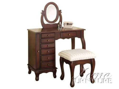 2 PC. Vanity Set in Walnut Finish with 8 Drawers by H-M Shop