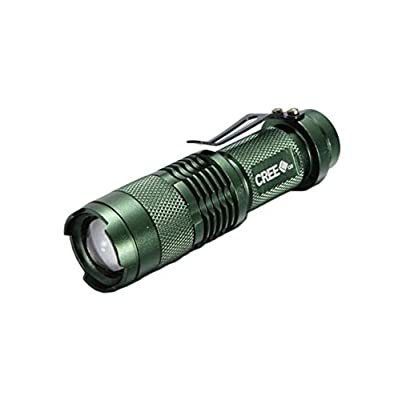 UltraFire?CREE XPE-Q5 3W Flashlight Torch Adjustable Focus Zoom Light Lamp Green Color