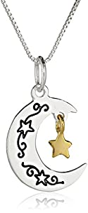 """Two-Tone """"I Love You To The Moon and Back"""" Moon and Star Pendant Necklace, 18"""""""