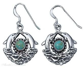 Sterling Silver Double Dolphins Turquoise Sun Waves Dangle Earrings