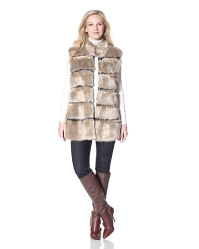 Via Spiga Women's Faux Fur Vest  - Beige