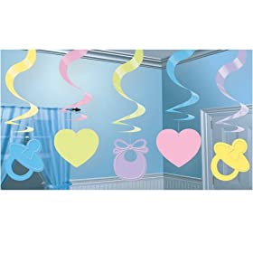 Baby Shower Hanging Swirl Decorations (5 count)