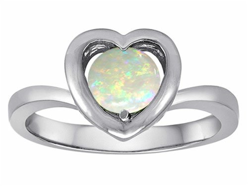 Star K Heart Engagement Promise Of Love Ring 7Mm Round Created Opal Size 8