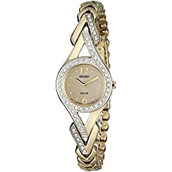 Seiko Solar Crystal-Accented Stainless Steel Women's Watch