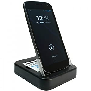 USB Dockingstation für Samsung Galaxy Nexus i9250 / Google Galaxy Nexus / Nexus Prime - mit Akku-Ladefach - mit Netzteil 100-240V