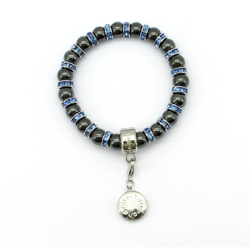Magnetic Hematite Charm Bracelet, Sapphire Crystal, Pure by Coppercraft PC-11