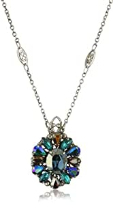 "Sorrelli ""Emerald City"" Crystal Cluster Silvertone Pendant Necklace"