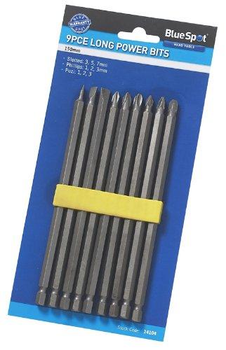 Blue Spot 14104 - Set composto da 9 inserti extra lunghi per avvitatore, portainserti inclusi, lunghezza 15 cm