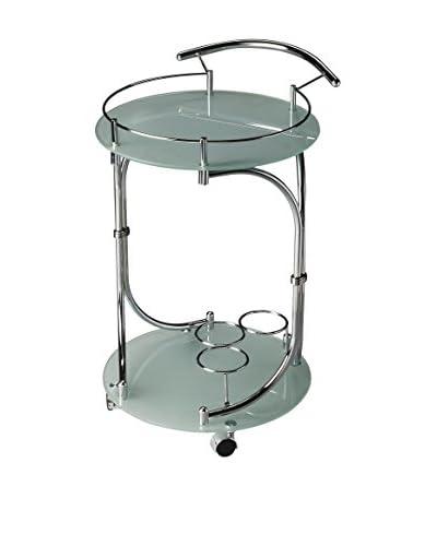 Butler Serving Cart, Chrome/Glass