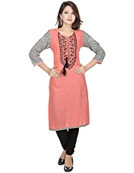 Amour Pink Cotton Cambric 60S Straight Digital Printed Kurti For Women