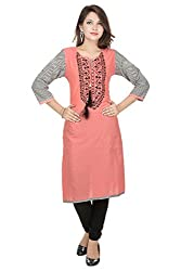 Amour Pink Cotton Cambric 60S Straight Digital Printed Kurti For Women_XXL