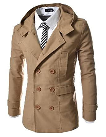 TheLees Mens casual double slim cotton hood trench coat at