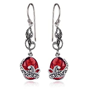 Sterling Silver Marcasite and Garnet Colored Glass Oval Wire Earrings